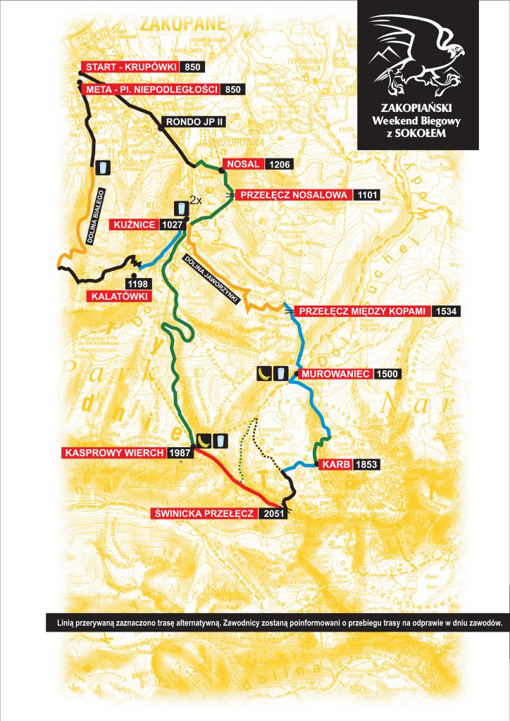 Mapa trasy VIII Wysokogórskiego Biegu im. dh. Franciszka Marduły